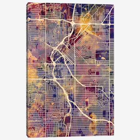 Denver Colorado Street Map II Canvas Print #MTO1699} by Michael Tompsett Canvas Art Print