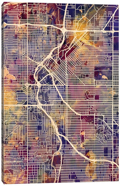 Denver Colorado Street Map II Canvas Art Print