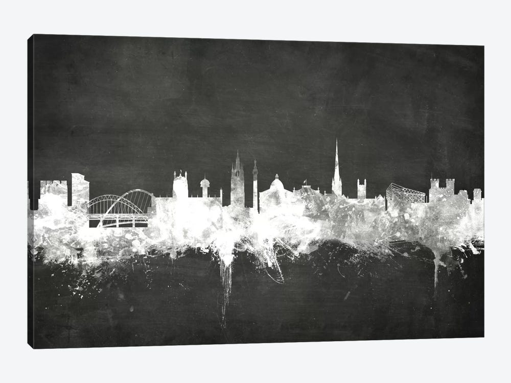 Blackboard Skyline Series: Newcastle, England, United Kingdom by Michael Tompsett 1-piece Canvas Art