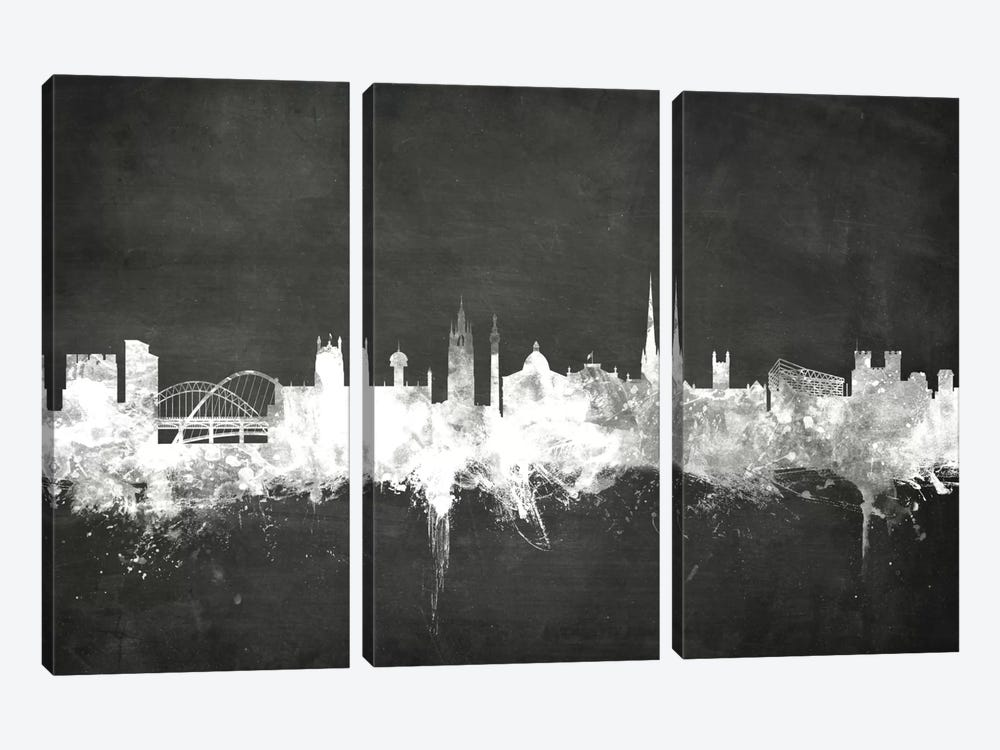 Blackboard Skyline Series: Newcastle, England, United Kingdom by Michael Tompsett 3-piece Canvas Art