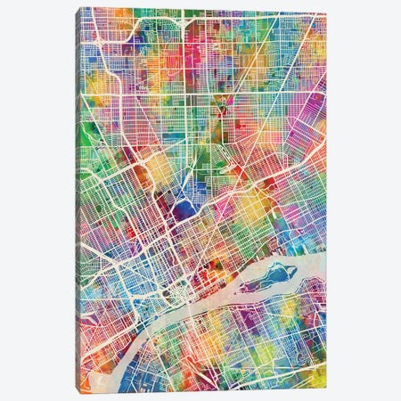 Detroit Michigan City Map I Canvas Print #MTO1700} by Michael Tompsett Art Print