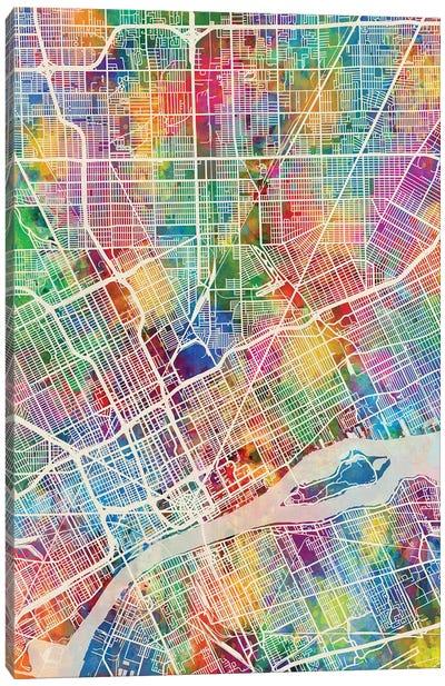 Detroit Michigan City Map I Canvas Art Print