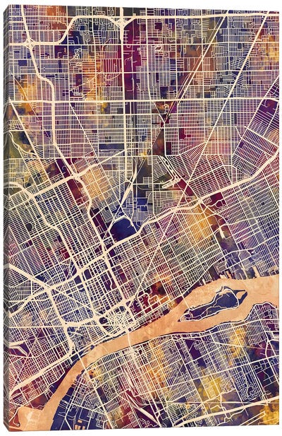 Detroit Michigan City Map II Canvas Art Print