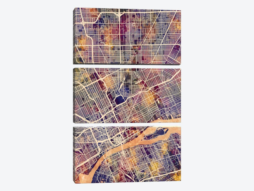 Detroit Michigan City Map II by Michael Tompsett 3-piece Canvas Print