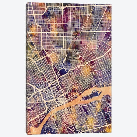Detroit Michigan City Map II Canvas Print #MTO1701} by Michael Tompsett Canvas Print