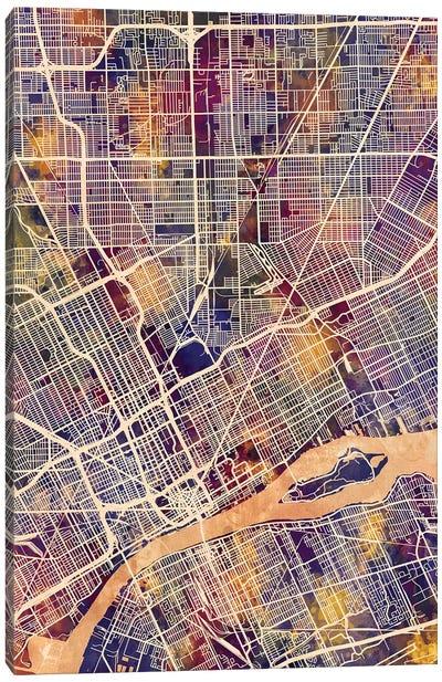 Detroit Michigan City Map II Canvas Art Print