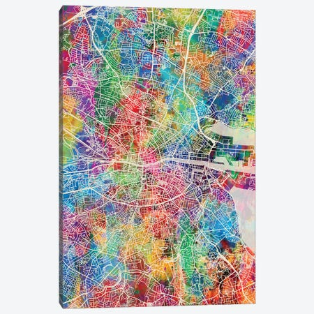 Dublin Ireland City Map I Canvas Print #MTO1702} by Michael Tompsett Canvas Print