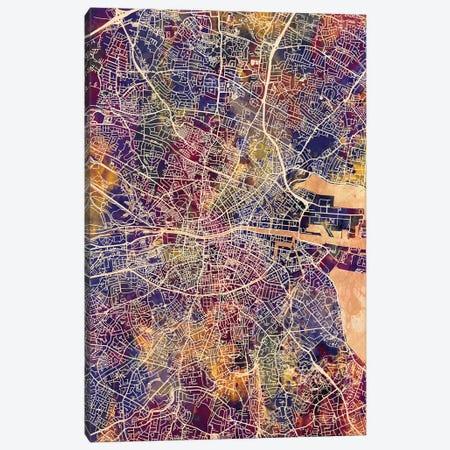 Dublin Ireland City Map II 3-Piece Canvas #MTO1703} by Michael Tompsett Canvas Art Print