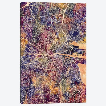 Dublin Ireland City Map II Canvas Print #MTO1703} by Michael Tompsett Canvas Art Print