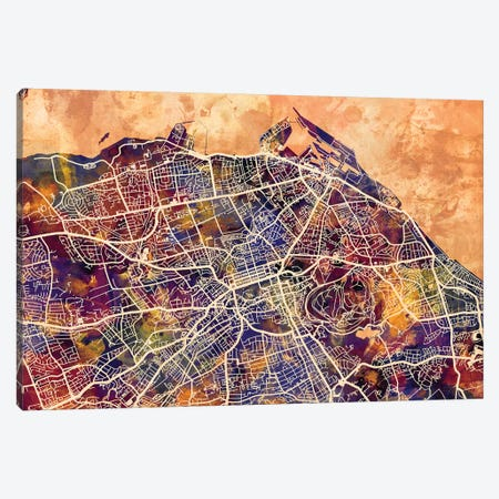 Edinburgh Street Map I Canvas Print #MTO1704} by Michael Tompsett Canvas Art