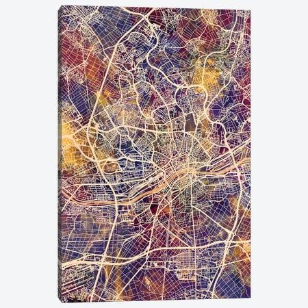 Frankfurt Germany City Map II Canvas Print #MTO1707} by Michael Tompsett Canvas Artwork