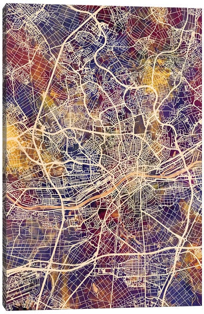 Frankfurt Germany City Map II Canvas Art Print