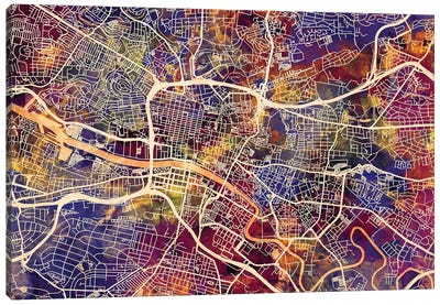 Glasgow Street Map I Canvas Art Print