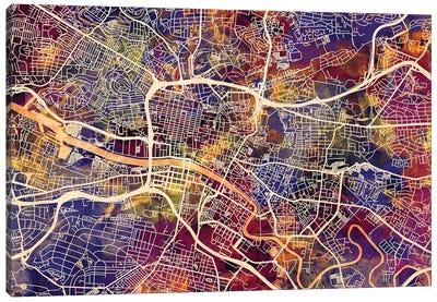 Glasgow Street Map I Canvas Art Print