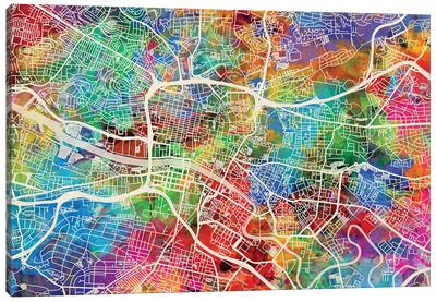 Glasgow Street Map II Canvas Art Print