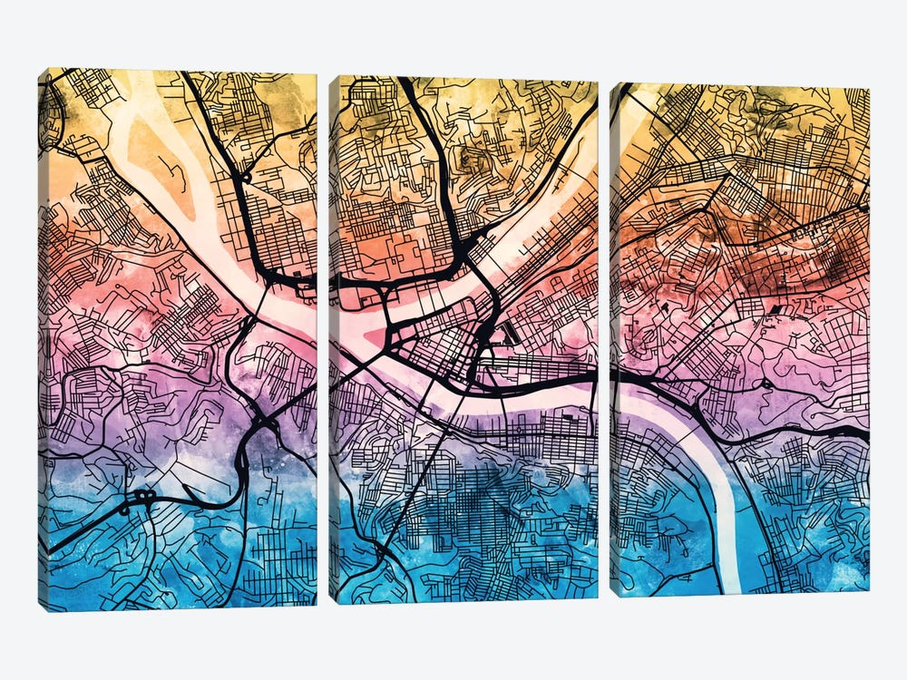 Pittsburgh, Pennsylvania, USA by Michael Tompsett 3-piece Canvas Art Print