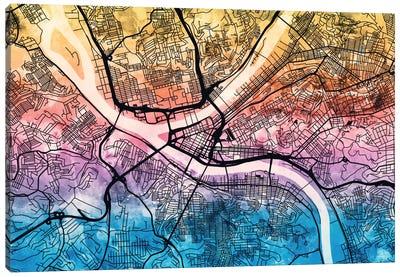 Reverse Blend Urban Street Map Series: Pittsburgh, Pennsylvania, USA Canvas Print #MTO170