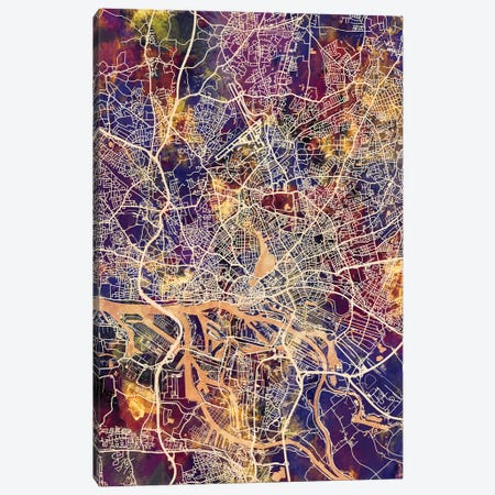 Hamburg Germany City Map II Canvas Print #MTO1711} by Michael Tompsett Canvas Wall Art