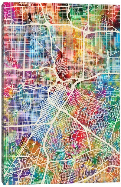 Houston Texas City Street Map I Canvas Art Print