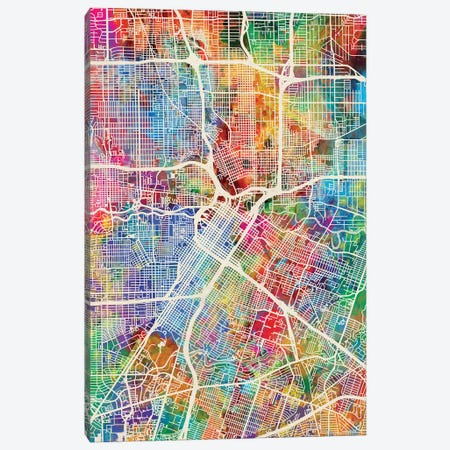 Houston Texas City Street Map I Canvas Print #MTO1712} by Michael Tompsett Canvas Wall Art