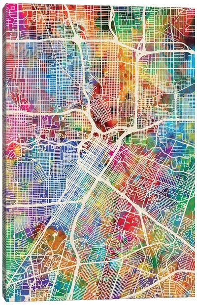 Houston Texas City Street Map I Canvas Art Print