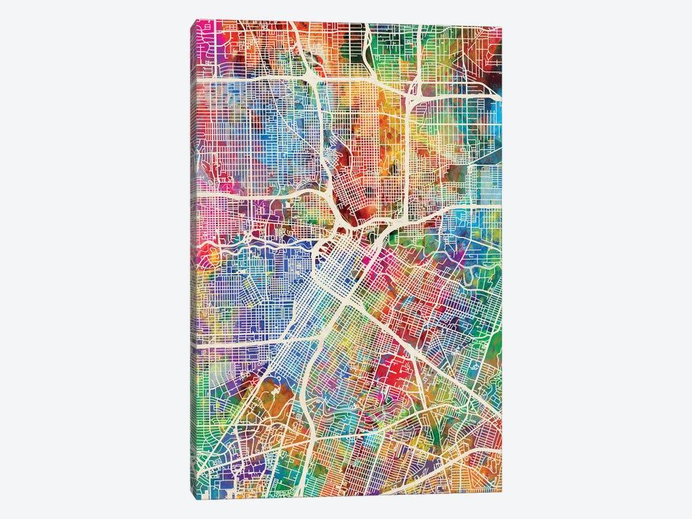Houston Texas City Street Map I by Michael Tompsett 1-piece Canvas Art Print