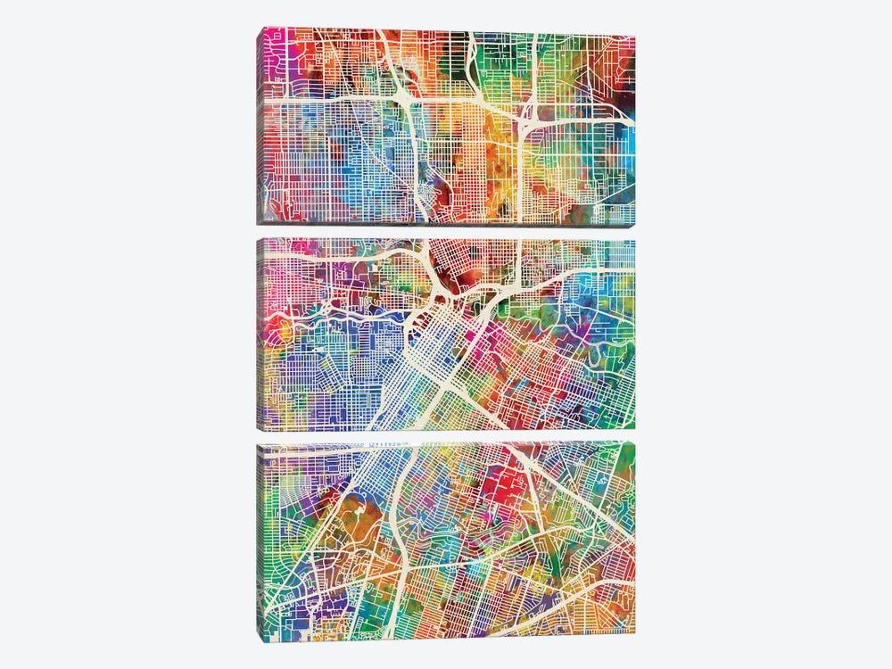 Houston Texas City Street Map I by Michael Tompsett 3-piece Canvas Art Print