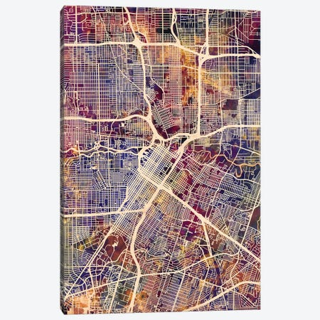 Houston Texas City Street Map II Canvas Print #MTO1713} by Michael Tompsett Canvas Artwork
