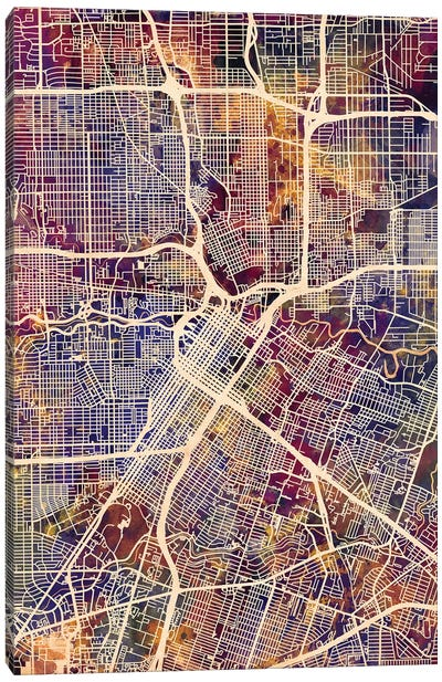 Houston Texas City Street Map II Canvas Art Print