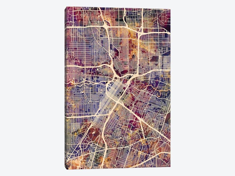 Houston Texas City Street Map II by Michael Tompsett 1-piece Canvas Wall Art