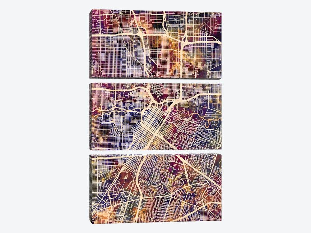 Houston Texas City Street Map II by Michael Tompsett 3-piece Canvas Wall Art