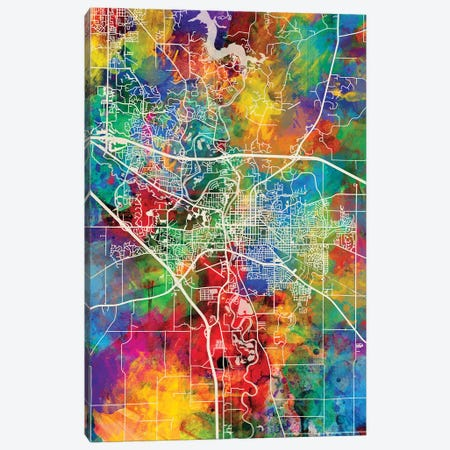 Iowa City Map I Canvas Print #MTO1714} by Michael Tompsett Canvas Print