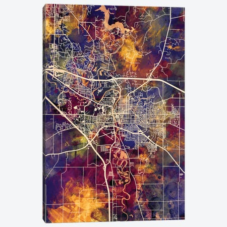 Iowa City Map II Canvas Print #MTO1715} by Michael Tompsett Canvas Art Print