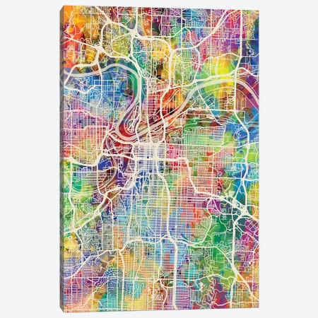 Kansas City Missouri City Map I Canvas Print #MTO1716} by Michael Tompsett Art Print
