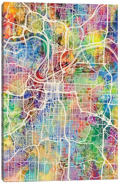 Kansas City Missouri City Map I Canvas Art Print
