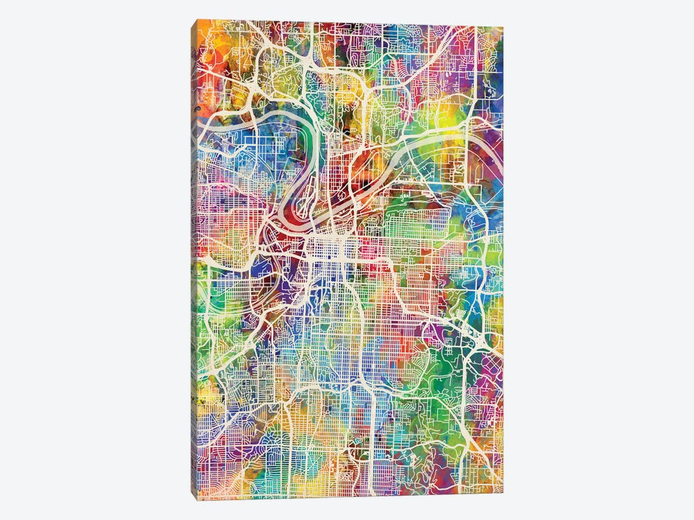 Kansas City Missouri City Map I by Michael Tompsett 1-piece Art Print