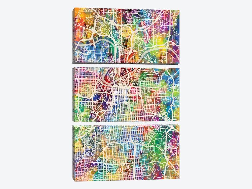 Kansas City Missouri City Map I by Michael Tompsett 3-piece Canvas Print