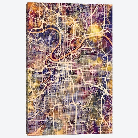 Kansas City Missouri City Map II Canvas Print #MTO1717} by Michael Tompsett Canvas Art Print