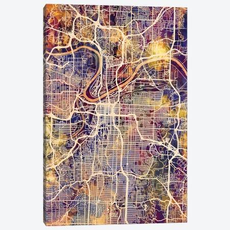 Kansas City Missouri City Map II Canvas Print #MTO1717} by Michael Tompsett Canvas Art Print