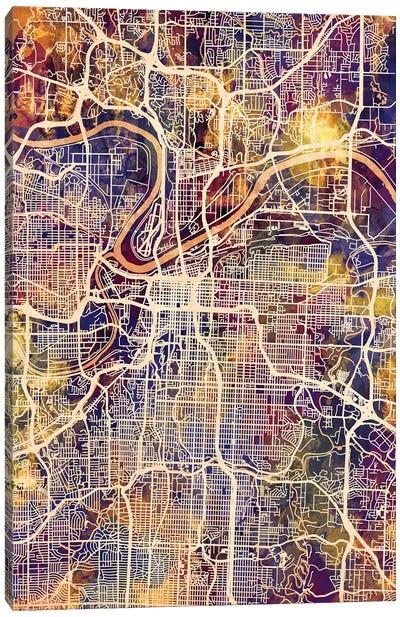Kansas City Missouri City Map II Canvas Art Print