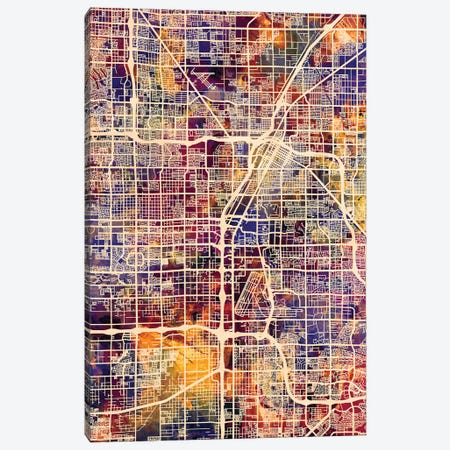 Las Vegas City Street Map I Canvas Print #MTO1718} by Michael Tompsett Canvas Artwork