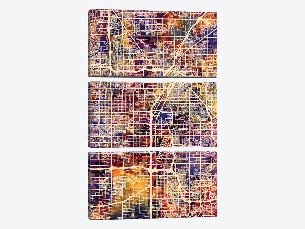Las Vegas City Street Map I by Michael Tompsett 3-piece Canvas Print