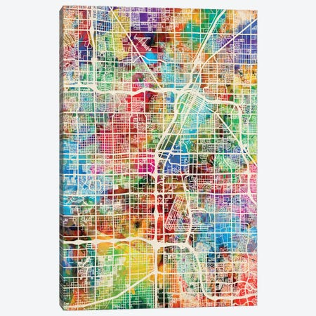 Las Vegas City Street Map II Canvas Print #MTO1719} by Michael Tompsett Canvas Artwork