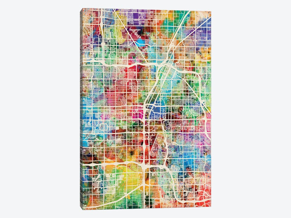Las Vegas City Street Map II by Michael Tompsett 1-piece Canvas Wall Art