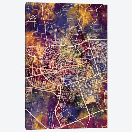 Leeuwarden Netherlands City Map II Canvas Print #MTO1721} by Michael Tompsett Canvas Art Print