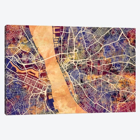 Liverpool England Street Map I Canvas Print #MTO1722} by Michael Tompsett Art Print