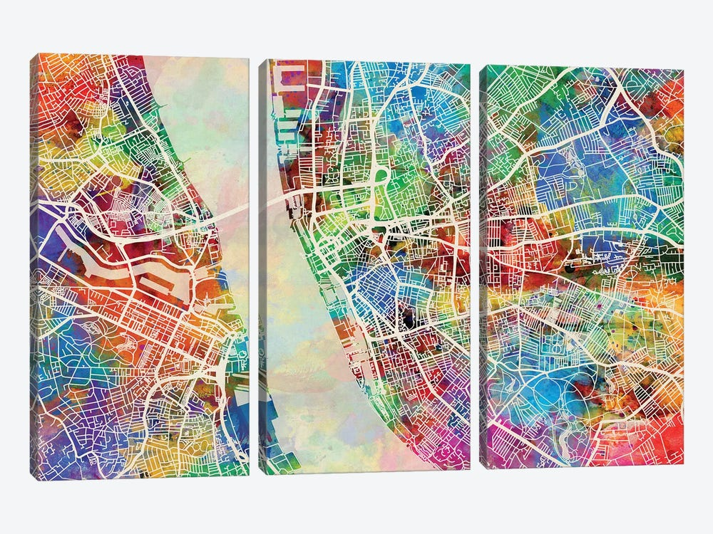 Liverpool England Street Map II by Michael Tompsett 3-piece Canvas Print