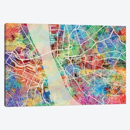 Liverpool England Street Map II 3-Piece Canvas #MTO1723} by Michael Tompsett Art Print
