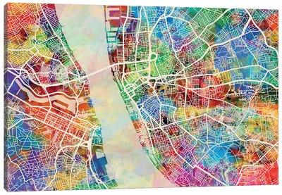 Liverpool England Street Map II Canvas Art Print
