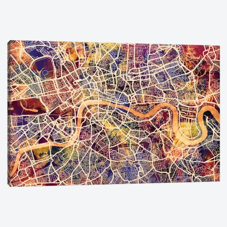London England Street Map I Canvas Print #MTO1724} by Michael Tompsett Canvas Wall Art